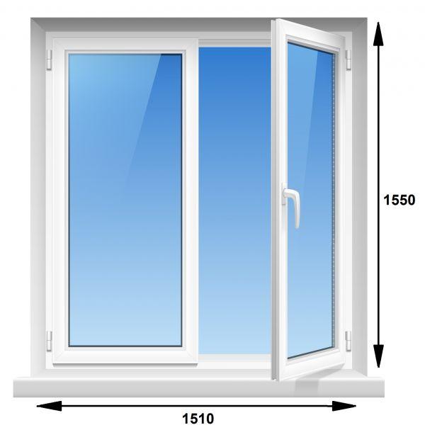 Вікно ПВХ Rehau Euro-60 1510х1550 мм