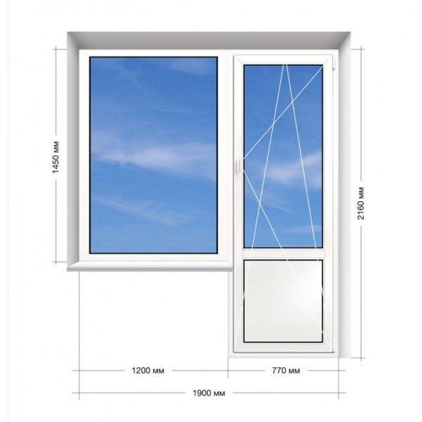 Балконний блок Veka Euroline 1900*2160 мм.