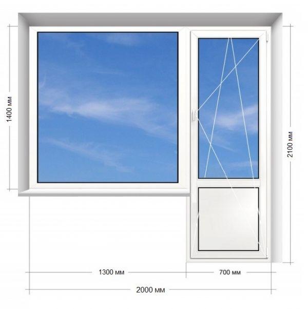 Балконний блок ПВХ Rehau EURO-DESIGN -70  2000х2100 мм