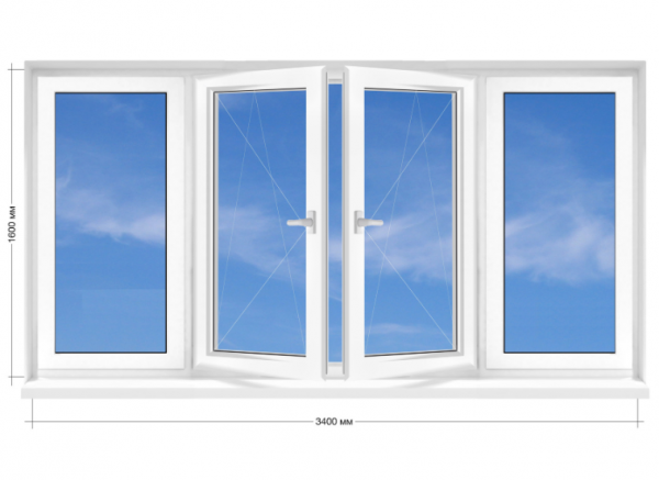 Балконна рама ПВХ Rehau Euro-60 3400х1600 мм