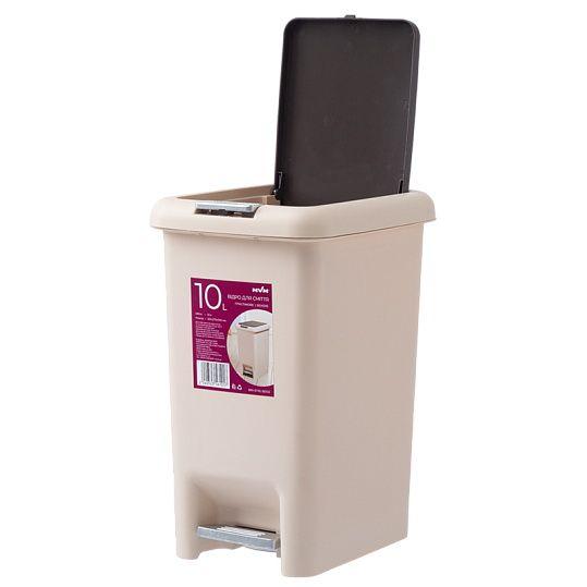 Відро для сміття з кришкою та педаллю BIN 01 10L беж