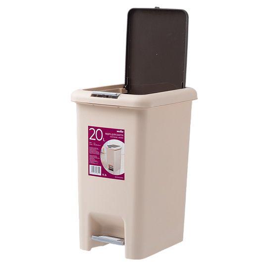 Відро для сміття з кришкою та педаллю BIN 01 20L беж