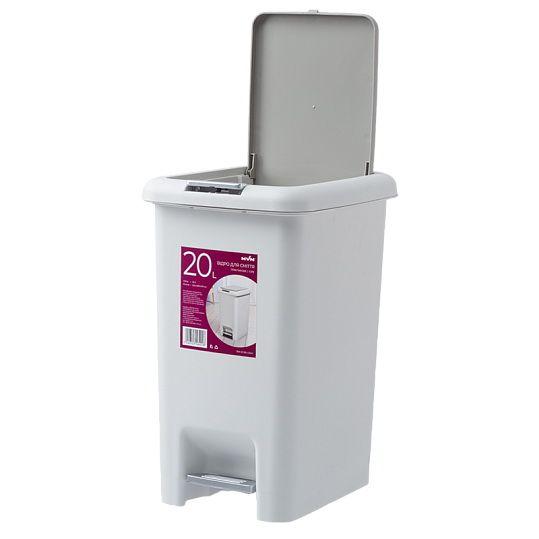 Відро для сміття з кришкою та педаллю BIN 01 20L сіре
