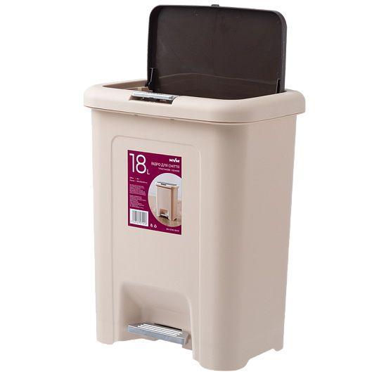 Відро для сміття з кришкою та педаллю BIN 03 18L беж