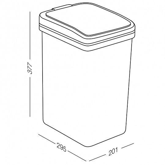 Відро для сміття з кришкою BIN 04 15L сіре