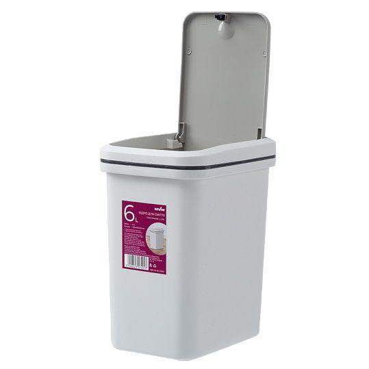 Відро для сміття з кришкою BIN 04 6L сіре
