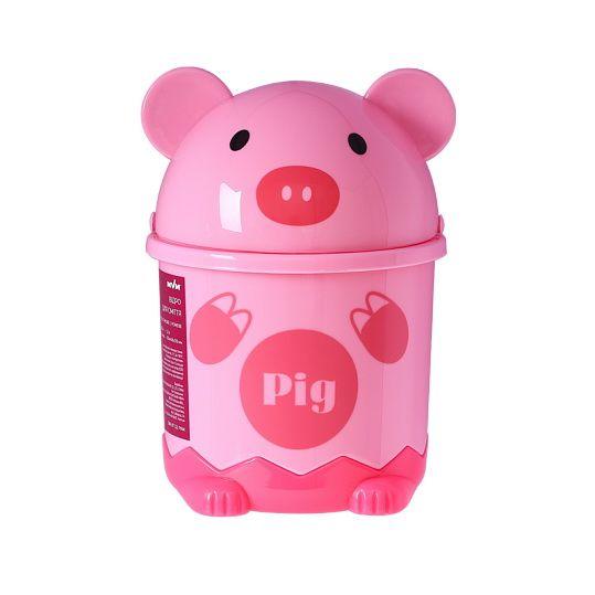 Відро для сміття дитяче з кришкою свинка BIN 07 1,2L рожеве