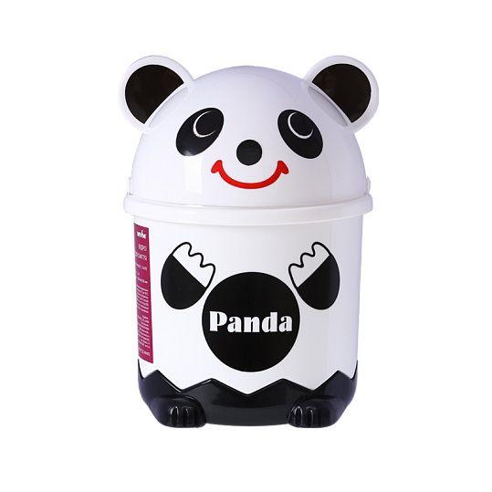 Відро для сміття дитяче з кришкою панда BIN 07 3,2L біле