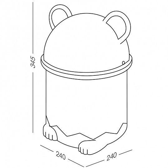 Відро для сміття дитяче з кришкою панда BIN 07 7L біле