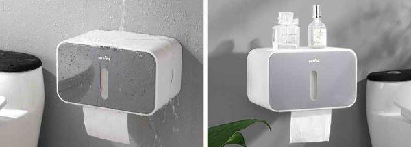 Тримач для туалетного паперу клейкий BP-15 білий/сірий