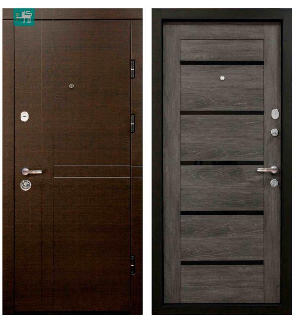 Двері вхідні  Міністерство дверей ПК-180/161 ЕЛІТ Венге горизонт темний/Царга шале