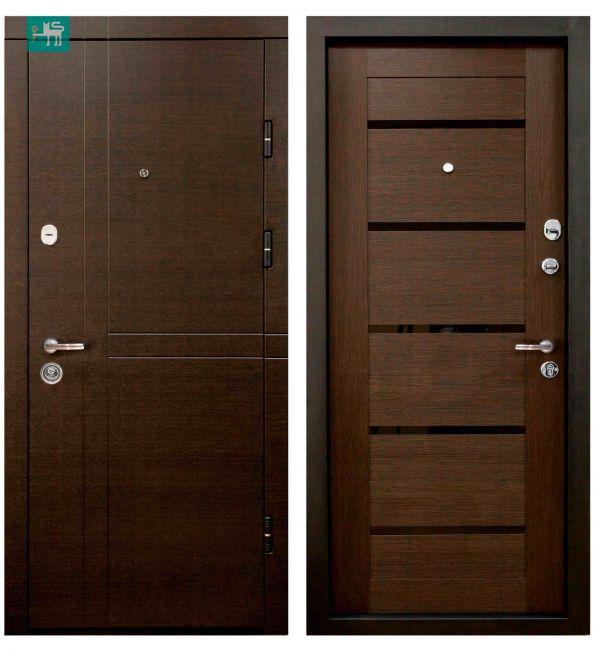 Двері вхідні  Міністерство дверей ПК-180/161 ЕЛІТ Венге горизонт темний/Царга венге