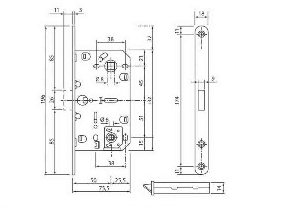 Механізм магнітний MLK-04 під WC PB полірована латунь