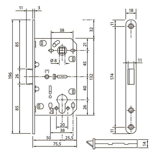 Механізм міжкімнатний під циліндр SB-8550 PZ AB антична бронза