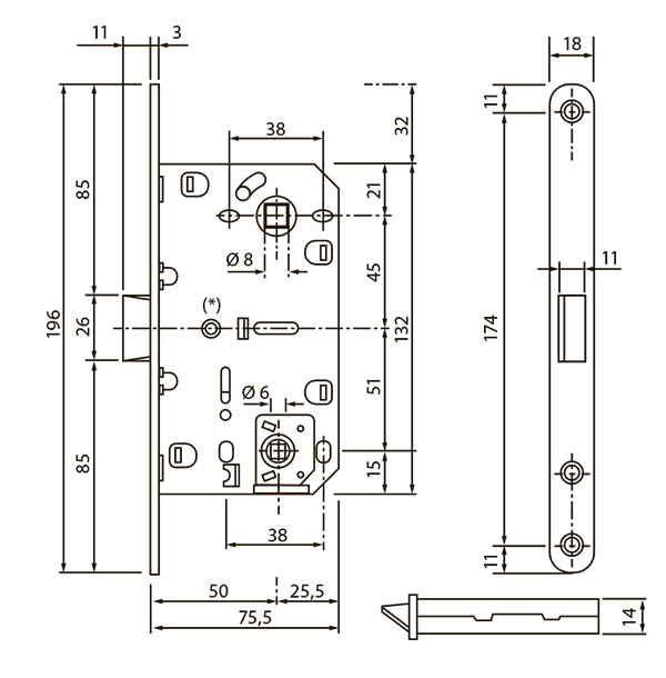 Механізм міжкімнатний SB-8550 під WC SN матовий нікель