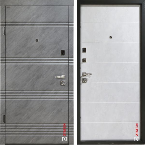 Двері вхідні Zimen-Fiesta optima kale зріз каменю/ бетон сніжний